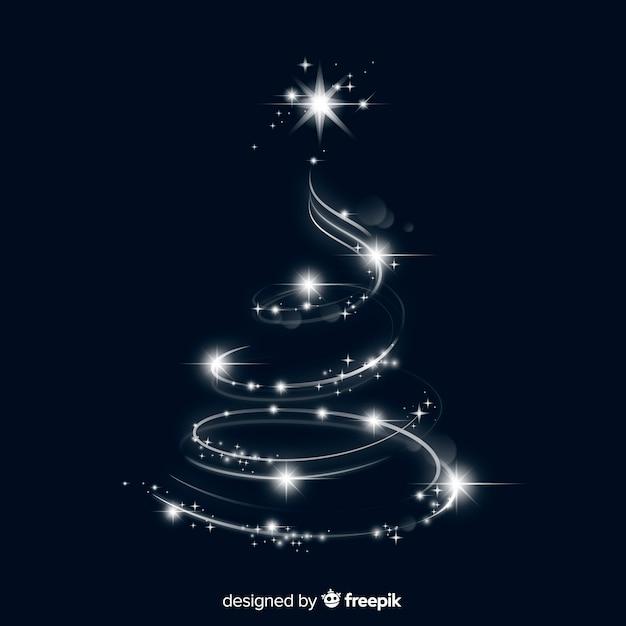 クリスマスツリーの形のエレガントなライト 無料ベクター
