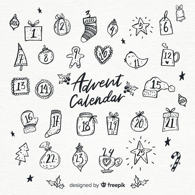 手描きのアドベントカレンダー 無料ベクター