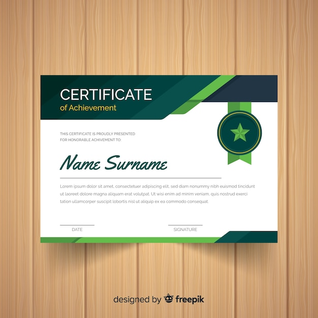 Шаблон сертификата знака звезды Бесплатные векторы