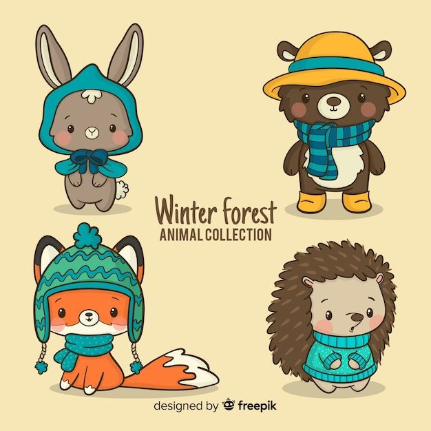 Коллекция друзей зимнего леса Бесплатные векторы