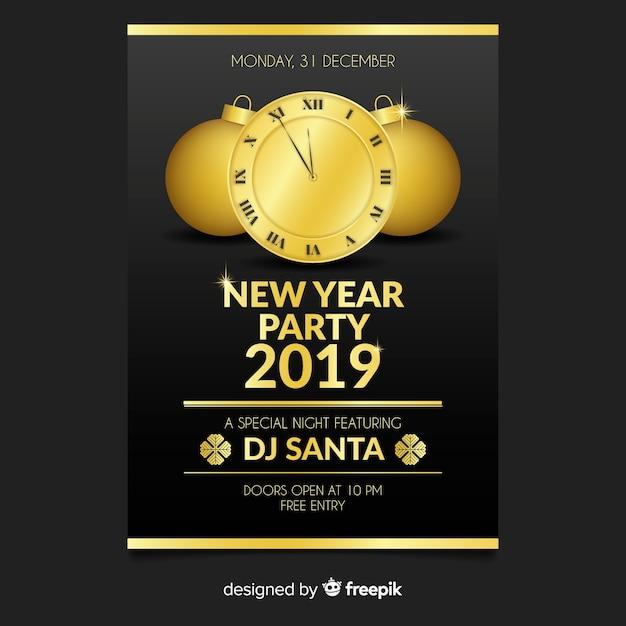 Золотые часы новый год шаблон плаката Бесплатные векторы