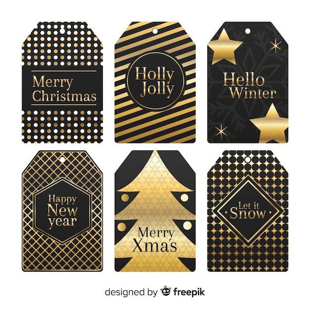ブラック&ゴールデンクリスマスラベルコレクション 無料ベクター