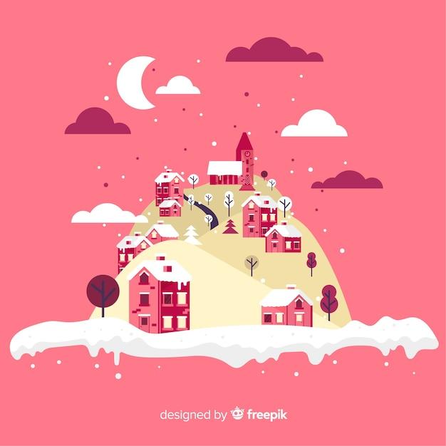 冬の町の島のイラスト 無料ベクター