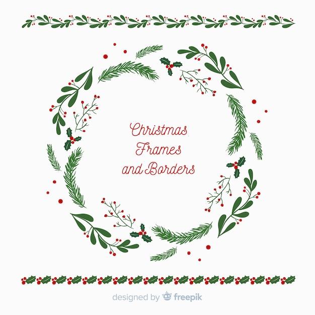 クリスマスフラットリースとフレーム 無料ベクター