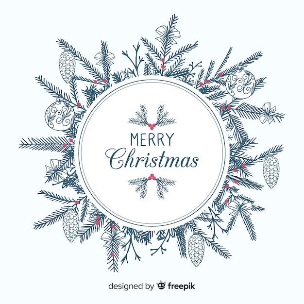 手描きの木の枝クリスマスの背景 無料ベクター