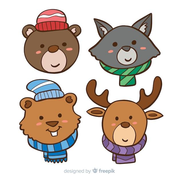 冬の動物コレクション 無料ベクター