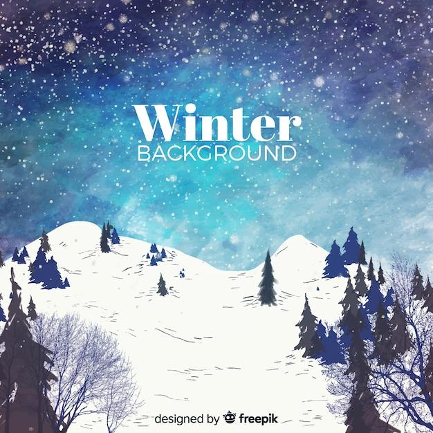 水彩冬の風景の背景 無料ベクター