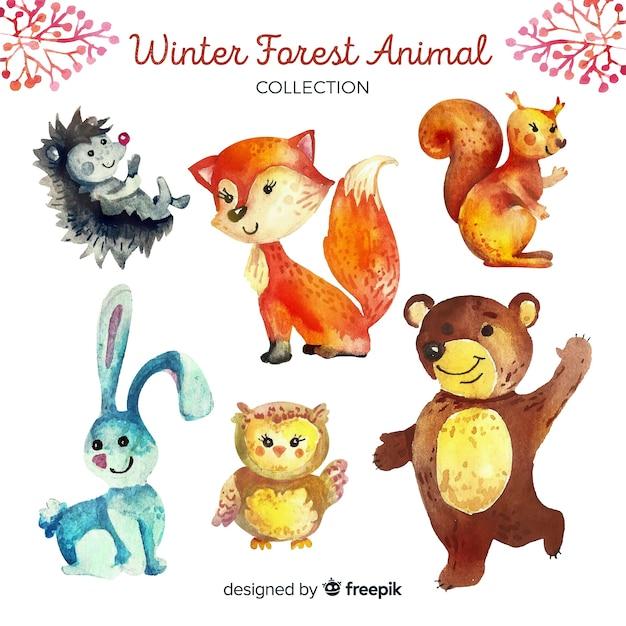 冬の森動物コレクション 無料ベクター