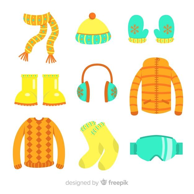 冬の洋服と必需品 無料ベクター