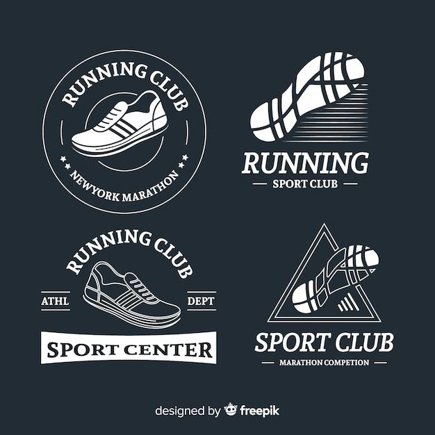 Запуск логотипов обуви Бесплатные векторы