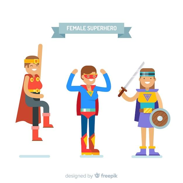 Супруги женского супергероя Бесплатные векторы