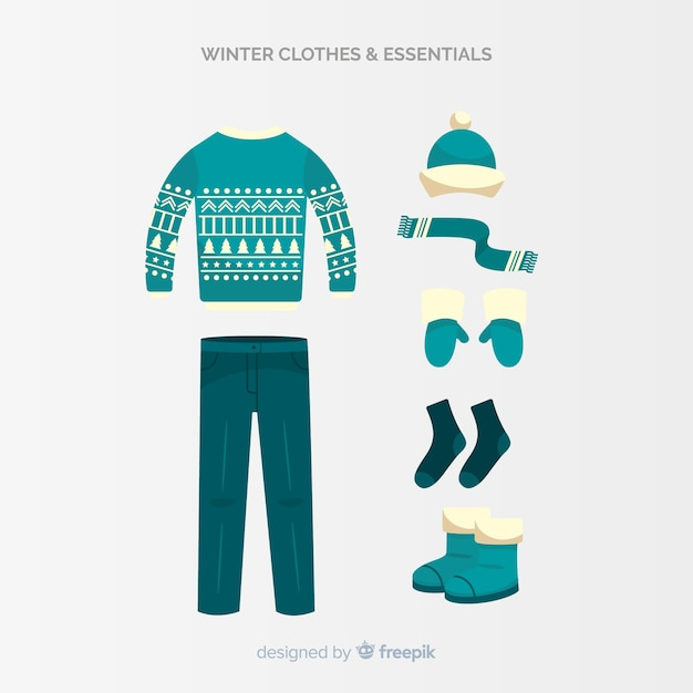 冬の洋服と必需品コレクション 無料ベクター