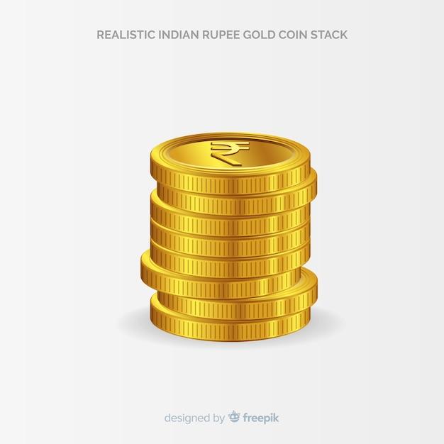 Реалистичная индийская рупия Бесплатные векторы