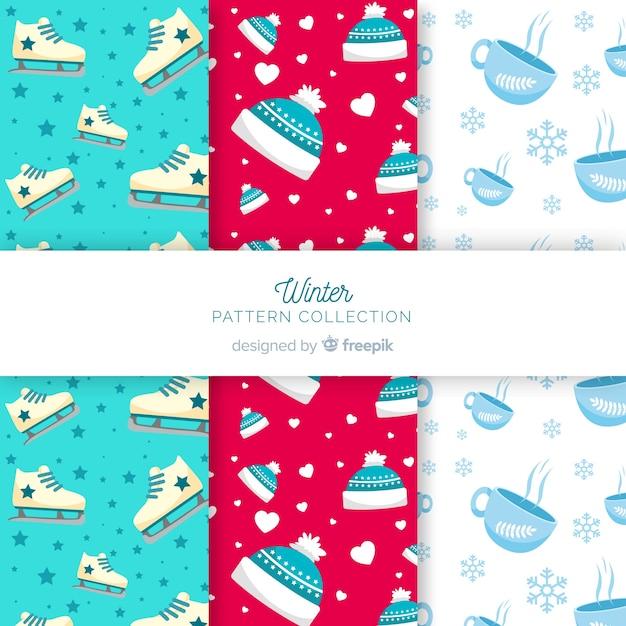 冬のパターンコレクション 無料ベクター