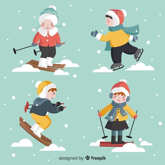 冬の子供コレクション 無料ベクター