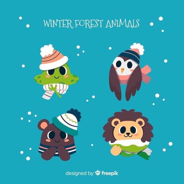 冬の森の動物コレクション 無料ベクター