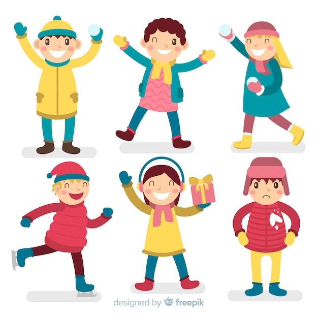 Коллекция персонажей зимних детей Бесплатные векторы