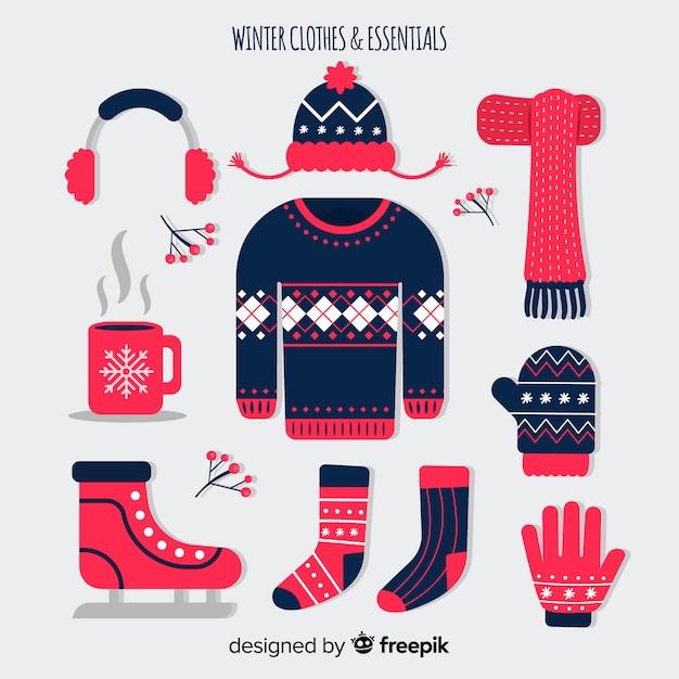 冬のフラットな服と本質 無料ベクター