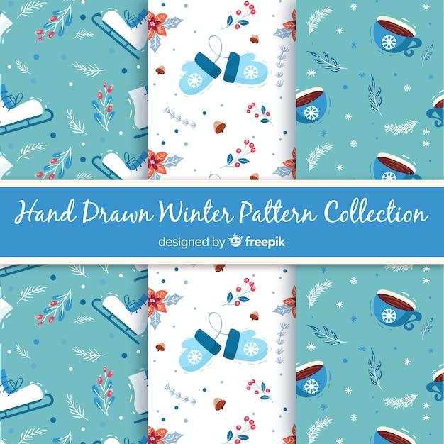 手描きの冬のパターンのコレクション 無料ベクター