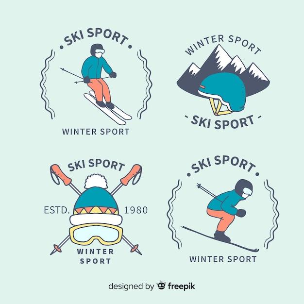 スキースポーツバッジコレクション 無料ベクター
