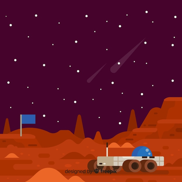 火星の風景の背景 無料ベクター