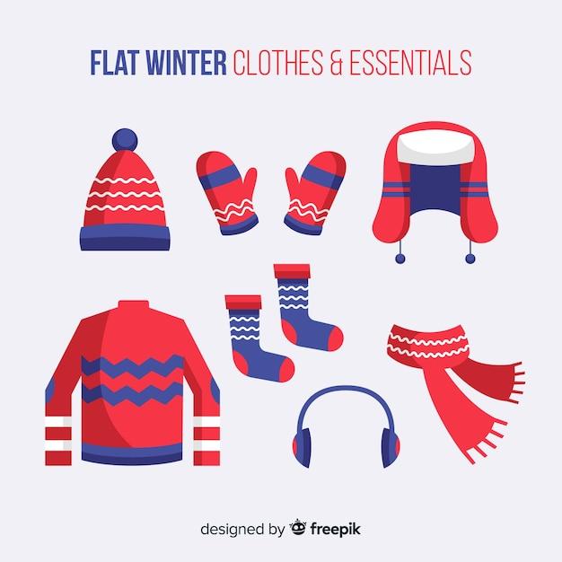 フラットな冬の服と本質 無料ベクター