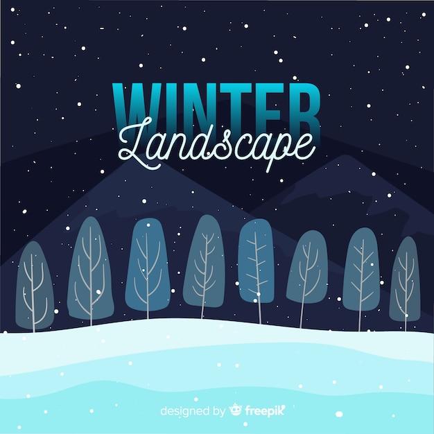 冬の風景の背景 無料ベクター