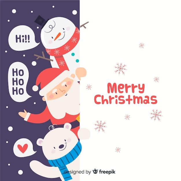 クリスマスキャラクターの背景を覗く 無料ベクター