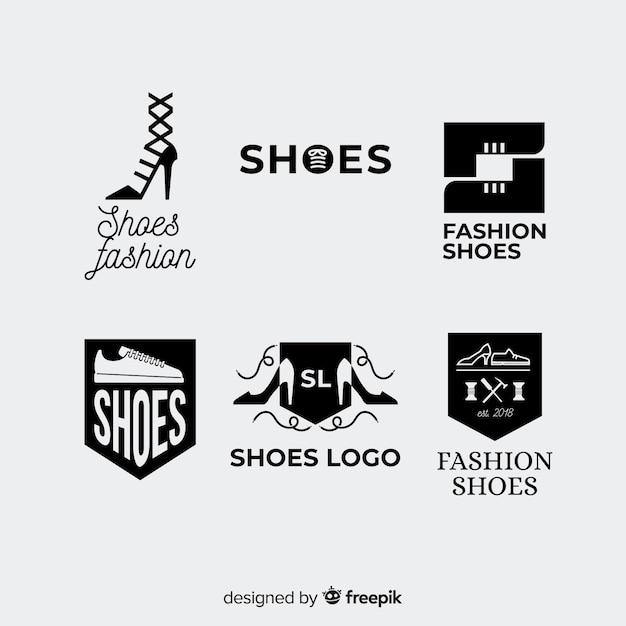 Современная коллекция логотипов обуви Бесплатные векторы