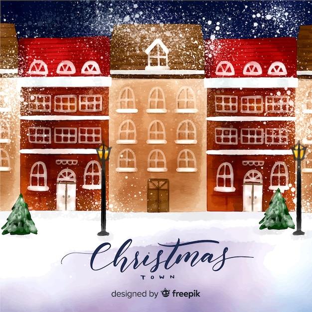 クリスマスタウン 無料ベクター