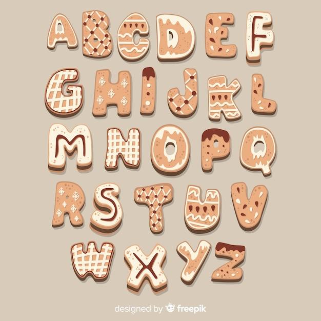 ジンジャーブレッドのクッキーのアルファベット 無料ベクター