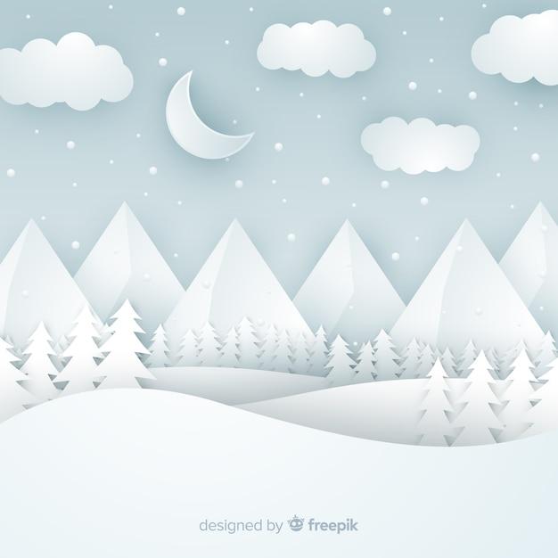 冬の風景の背景をカット 無料ベクター