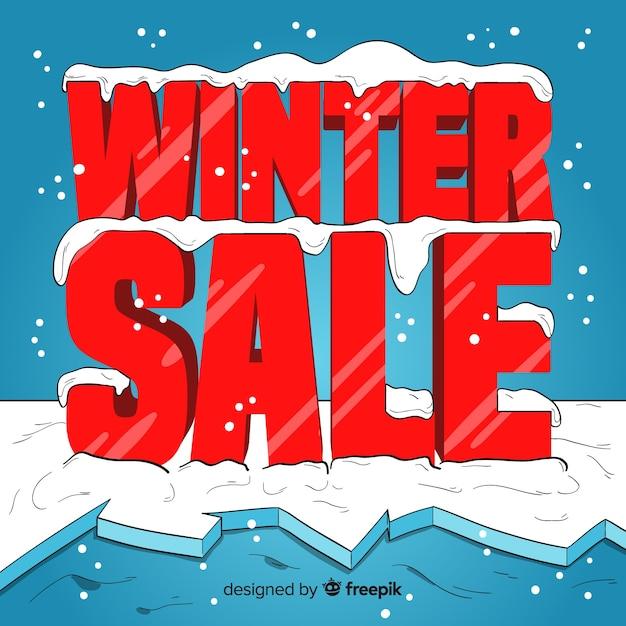冬の販売の背景 無料ベクター
