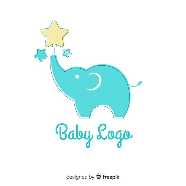 フラットデザインの素敵な赤ちゃんロゴテンプレート 無料ベクター