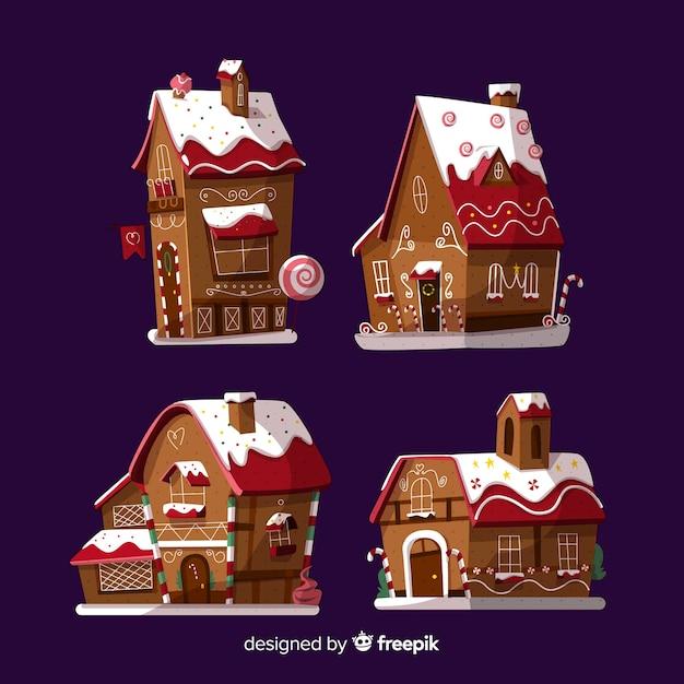 クリスマスジンジャークッキーの素敵なセット 無料ベクター