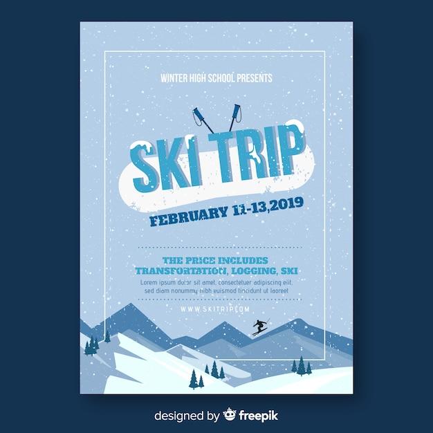 スキー旅行のチラシ 無料ベクター