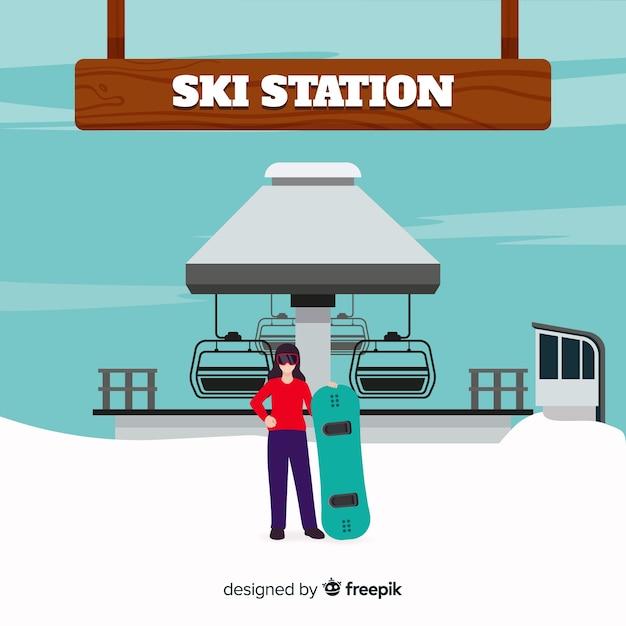 スキー場の背景 無料ベクター