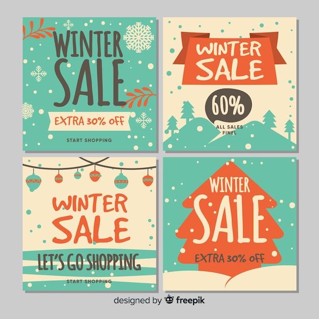 冬の販売カード 無料ベクター