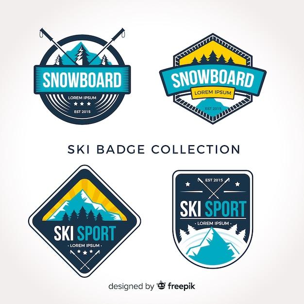 Коллекция лыжных значков Бесплатные векторы