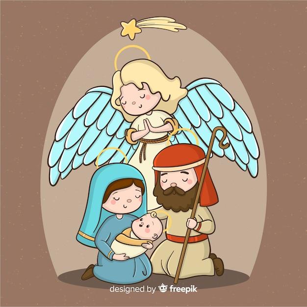 Нарисованный фон сцены рождества Бесплатные векторы