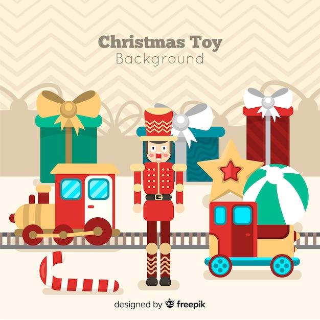 クリスマスのおもちゃの背景 無料ベクター