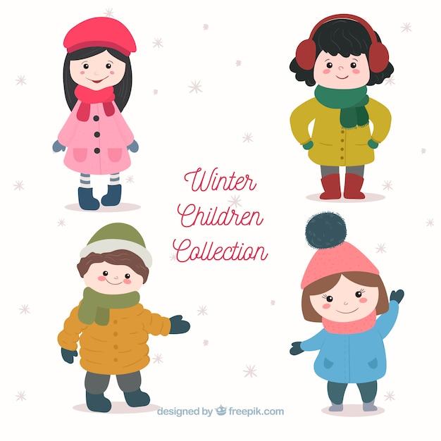 手描きのかわいい冬の子供のコレクション 無料ベクター