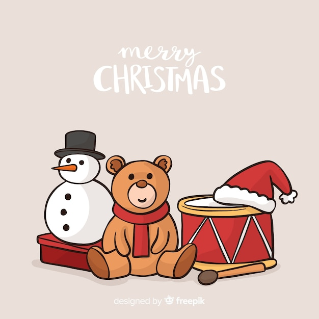 クリスマス玩具の背景 無料ベクター