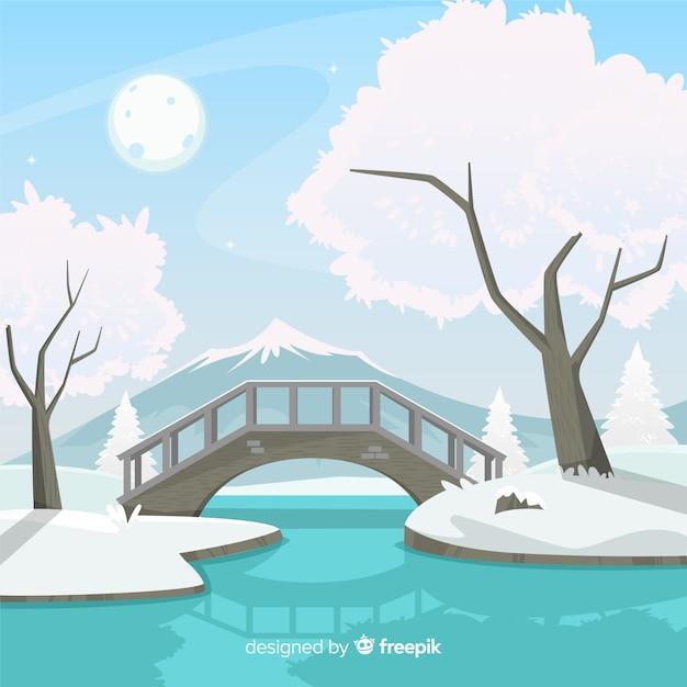 橋の冬の風景 無料ベクター