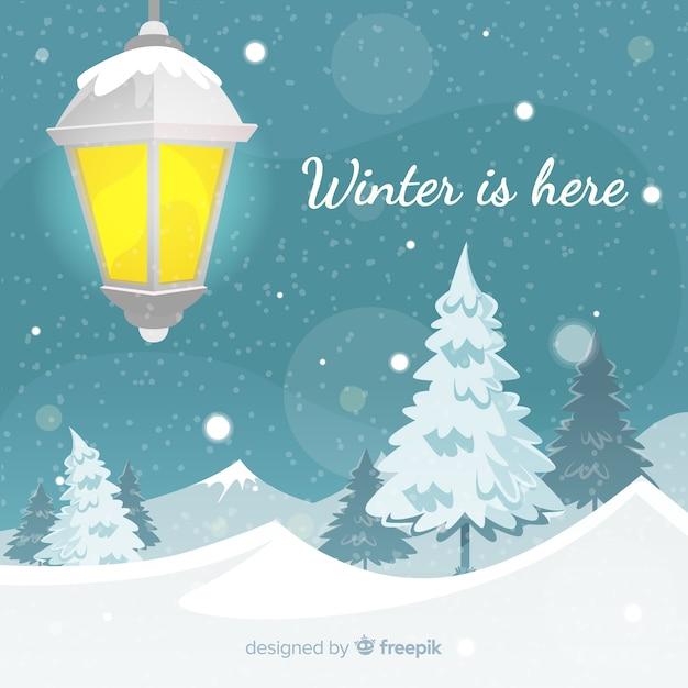 街灯の冬の背景 無料ベクター