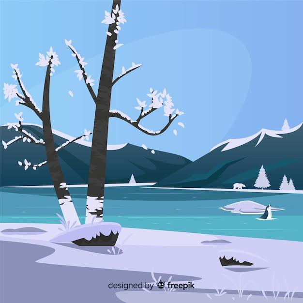 凍った湖の冬のイラスト 無料ベクター