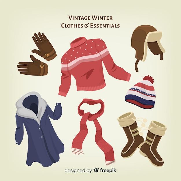ヴィンテージ冬の洋服と必需品 無料ベクター