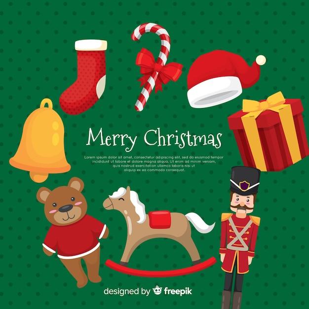 クリスマスおもちゃの背景テンプレート 無料ベクター