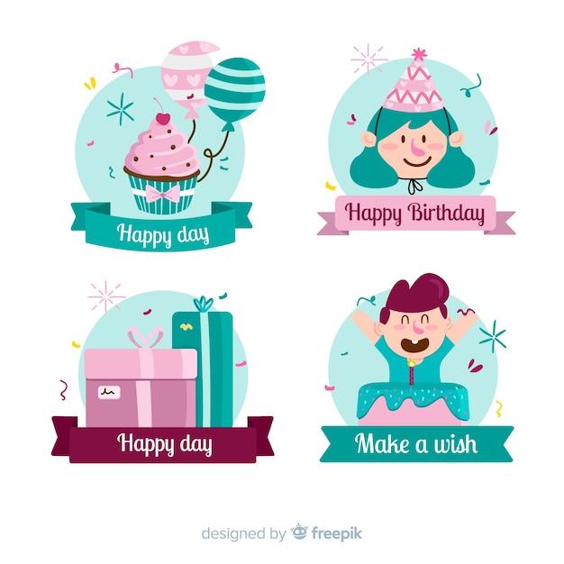 素敵な手描きの誕生日の組成 無料ベクター
