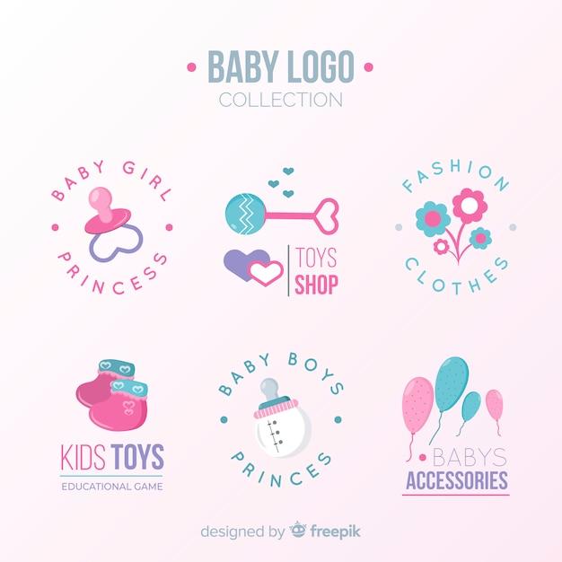 モダンなスタイルの素敵な赤ちゃんのロゴ 無料ベクター